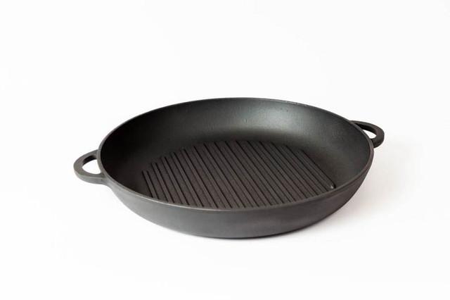Сковорода гриль чугунная, эмалированная, d=340мм, h=40мм, матово-чёрная