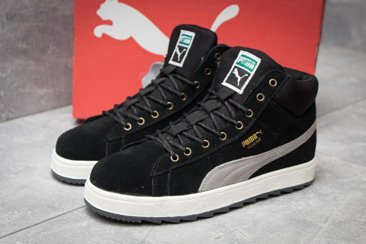 Зимние кроссовки в стиле Puma Suede, черные (30162),  [  42 44  ]
