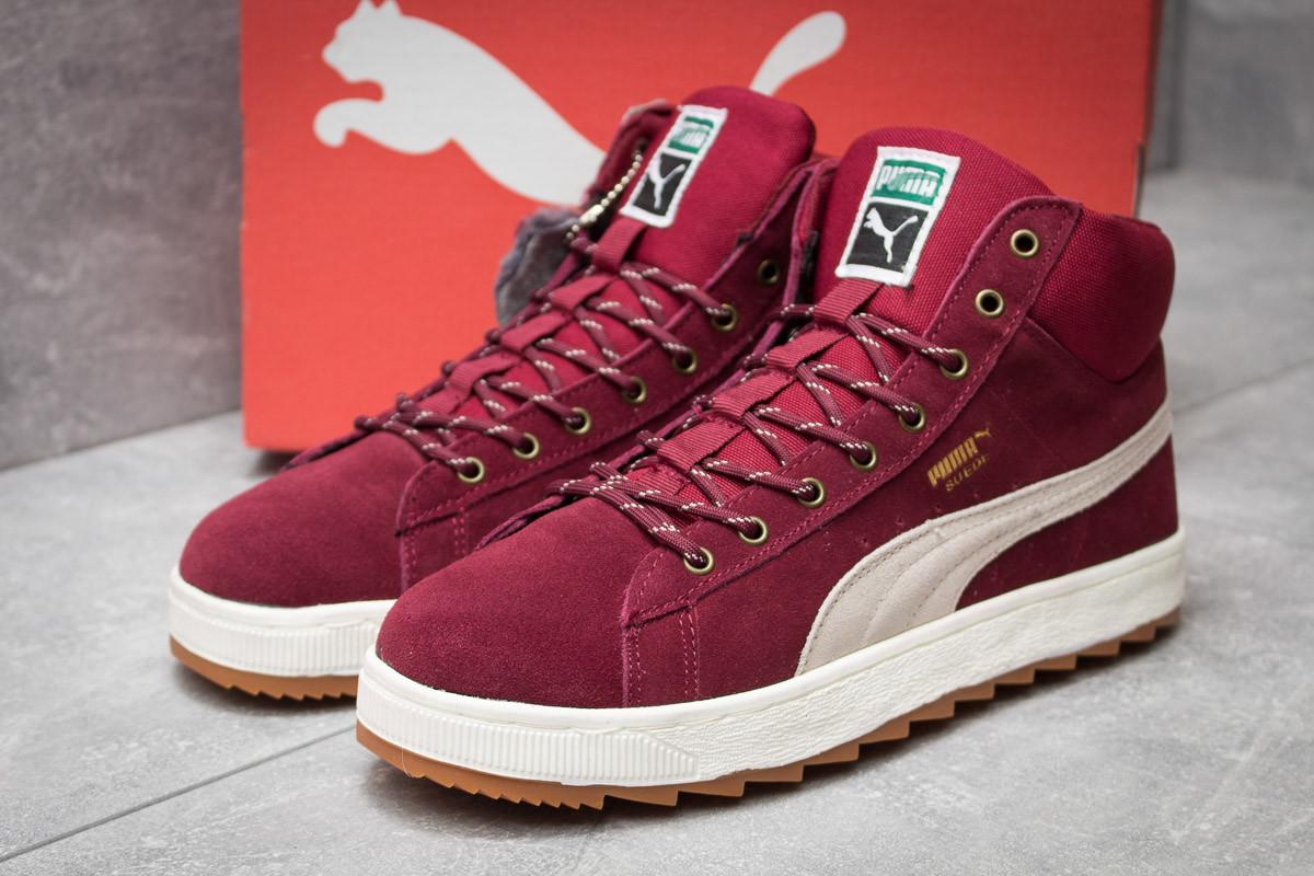 Зимние кроссовки в стиле Puma Suede, бордовые (30163),  [  42 43 44 45  ]