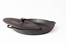 Сковорода гриль чугунная эмалированная, с прессом. d=340мм, h=40мм, матово-чёрная