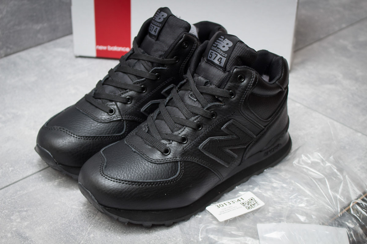 Зимние кроссовки на меху в стиле New Balance 574, черные (30133),   46  (последняя пара)   dc88007a9c6