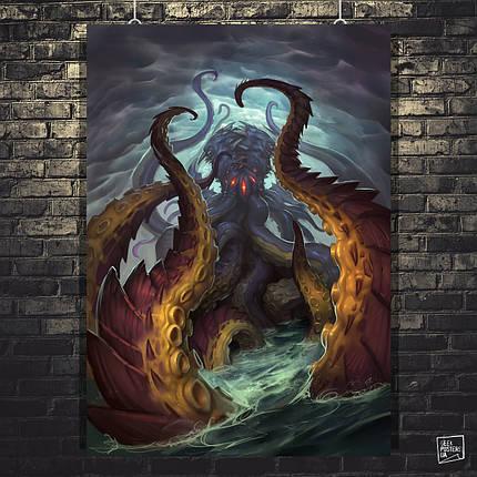 """Постер """"N'Zoth, древний бог"""", Лавкрафт, Lovecraft, Ктулху, Варкрафт. Размер 60x44см (A2). Глянцевая бумага, фото 2"""