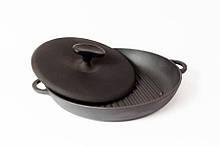 Сковорода гриль чугунная эмалированная, с прессом. d=260мм, h=40мм, матово-чёрная