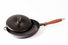 Сковорода гриль чугунная, эмалированная с деревянной ручкой и прессом. d=260мм, h=40мм, матово-чёрная