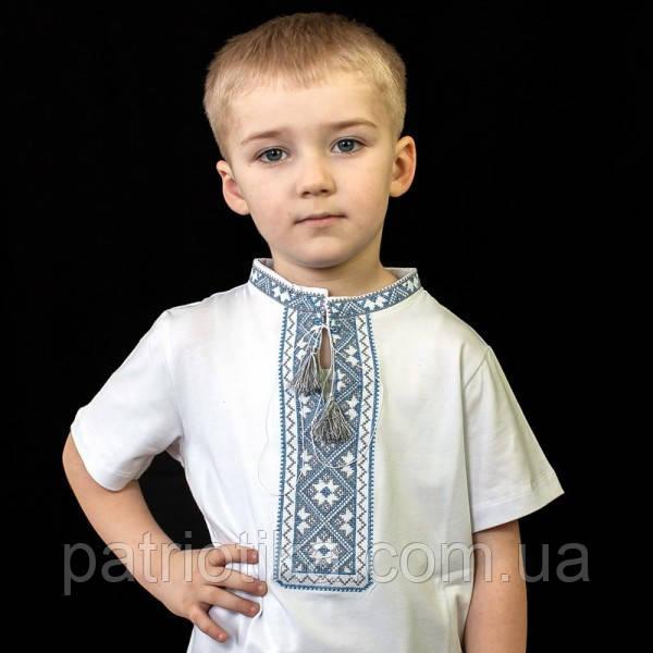 Вишиванка для хлопчика з коротким рукавом синя | Вишиванка для хлопчика з коротким рукавом синя