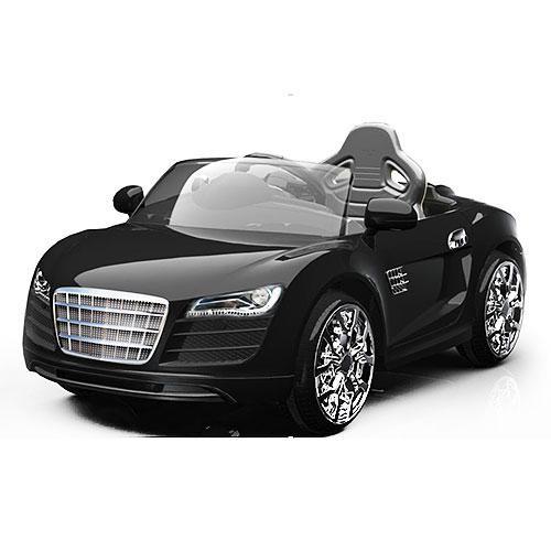 Детский Электромобиль Audi 2316 черная на аммортизаторах и радиоуправлении, открываются дверцы
