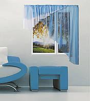 """Шторы для кухни """"Баку""""3м голубой-белый, правая или левая, фото 1"""