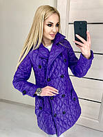 Фиолетовая женская дутая курточка на пуговицах с карманами. Арт-7318/80, фото 1