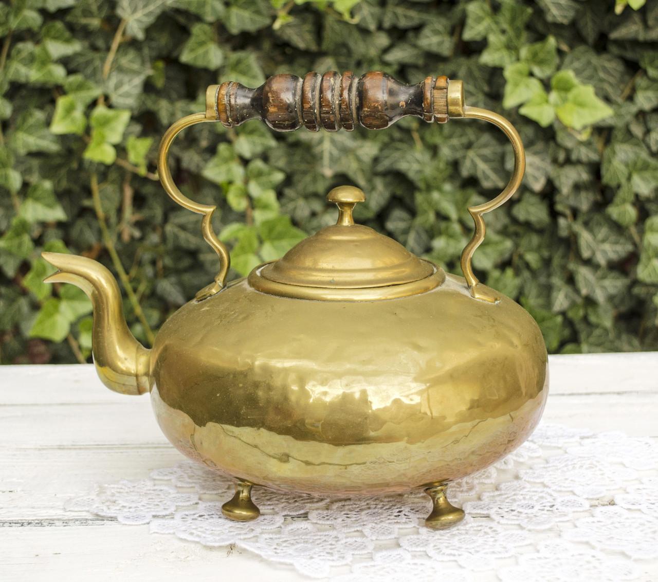 Старый бронзовый чайник, бронза, деревянная ручка, Германия