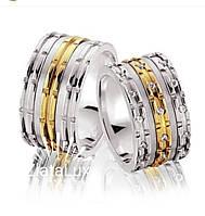 """Золотые обручальные кольца с камнями """"Swarowski"""" c элементами белого и желтого золота."""