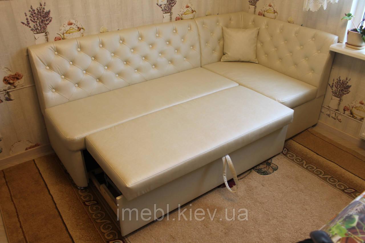 Диван со спальным местом для небольшой кухни (молочный)