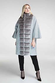 Женское пончо с мехом 688 / размер 58,60