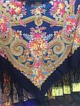 Лабзинский 1722-12, павлопосадский платок (шаль) из уплотненной шерсти с шелковой вязанной бахромой, фото 4