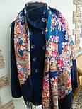 Лабзинский 1722-12, павлопосадский платок (шаль) из уплотненной шерсти с шелковой вязанной бахромой, фото 5