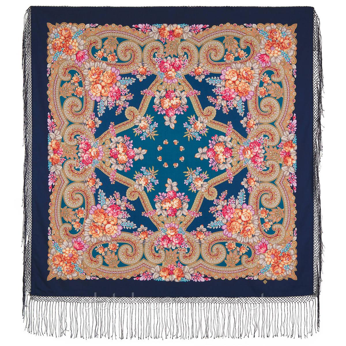 Лабзинский 1722-12, павлопосадский платок (шаль) из уплотненной шерсти с шелковой вязанной бахромой