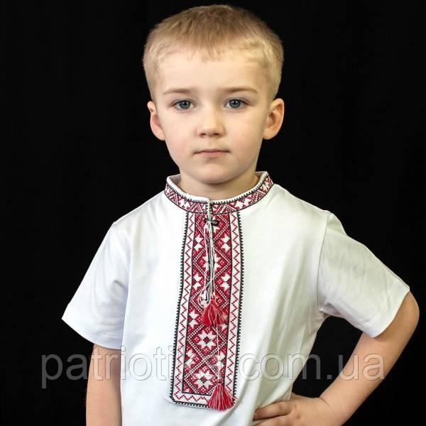 Вышиванка для мальчика с коротким рукавом красная | Вишиванка для хлопчика з коротким рукавом червона