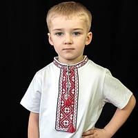 Вышиванка для мальчика с коротким рукавом красная   Вишиванка для хлопчика з коротким рукавом червона
