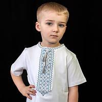 Вышиванка для мальчика с коротким рукавом голубая | Вишиванка для хлопчика з коротким рукавом голубая