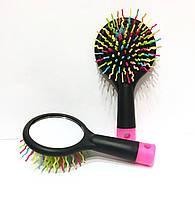 Массажная щётка для волос с зеркалом