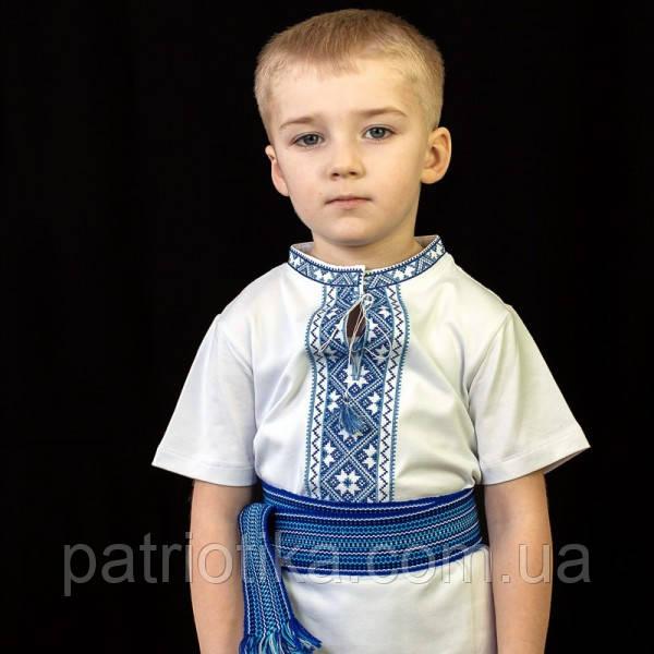 Вишиванка для хлопчика з коротким рукавом синя   Вишиванка для хлопчика з коротким рукавом синя