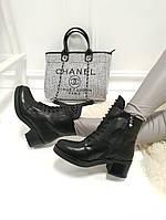 Женские ботинки  черные   бусины каблук 5,5  см, фото 1