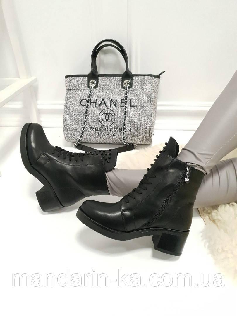 Женские ботинки  черные   бусины каблук 5,5  см