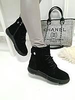 Женские ботинки зимние черные натуральный замш, фото 1