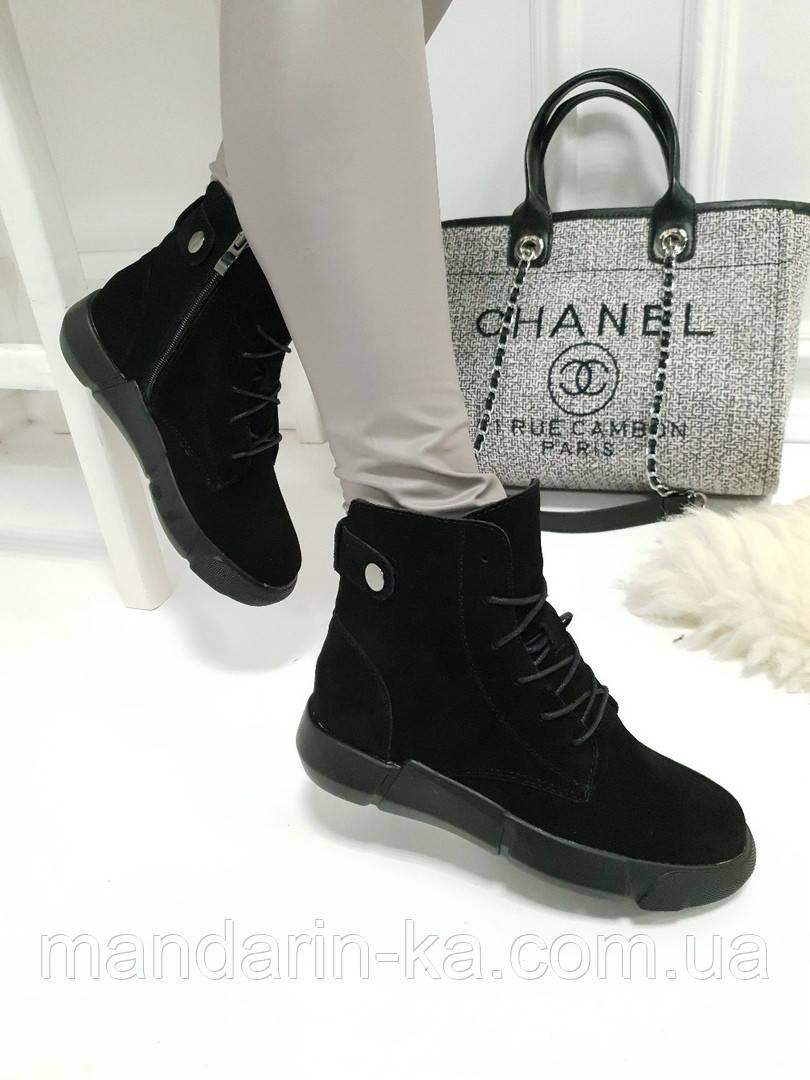 Женские ботинки зимние черные натуральный замш