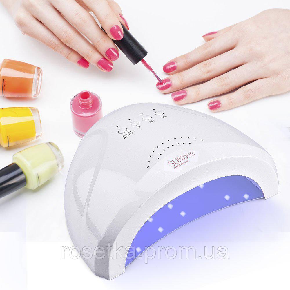 Манікюрна гібридна лампа UV + LED для полімеризації SUNone 48W / 24 W з сенсором, білого кольору