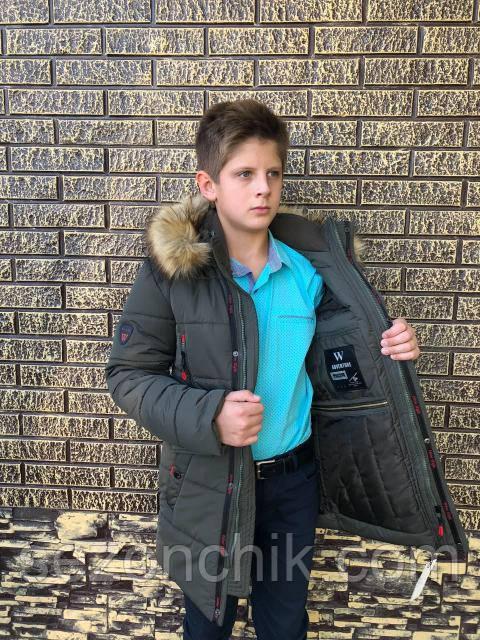 Теплая зимняя куртка для мальчика подростка модная новинка