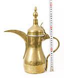 Антикварный арабский кофейник, латунный чайник, даллах, латунь 29 см, фото 6