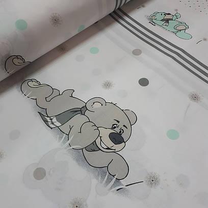 Ткань хлопковая польская, Купон мишка с одуванчиком с мятным и серым горошком на белом