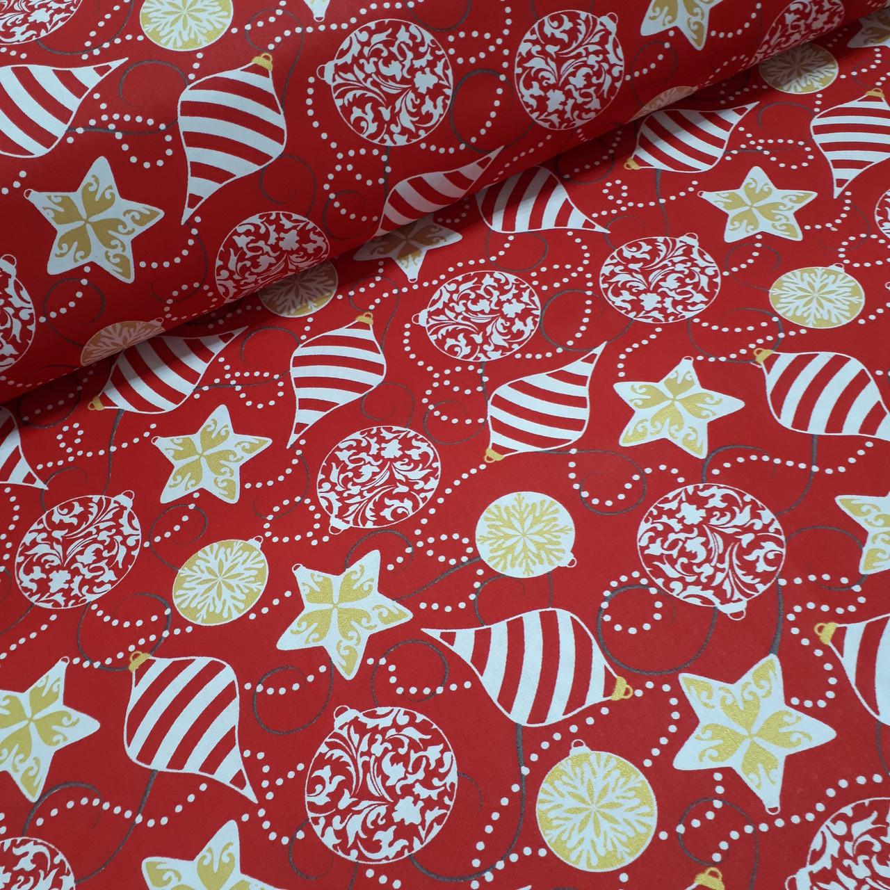 Ткань хлопковая, новогодние шарики золотисто(глиттер)-белые на красном