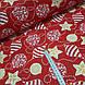 Ткань хлопковая, новогодние шарики золотисто(глиттер)-белые на красном, фото 2