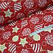 Ткань хлопковая, новогодние шарики золотисто(глиттер)-белые на красном, фото 3