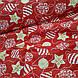 Ткань хлопковая, новогодние шарики золотисто(глиттер)-белые на красном, фото 4