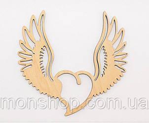 Деревянная заготовка Сердце с крыльями