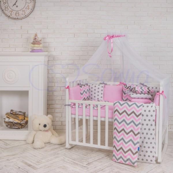 Комплект детского постельного белья Baby Design Премиум Индиго розовый 6пр