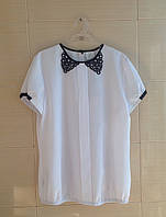 Блуза SLY школьная с коротким рукавом и имитацией воротничка р.164