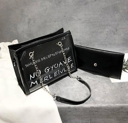 Женская сумка с прозрачной силиконовой вставкой и клатчем, фото 2