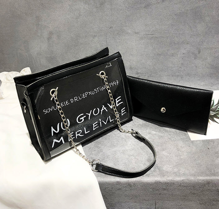 Женская сумка с прозрачной силиконовой вставкой и клатчем