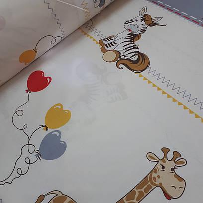 Ткань хлопковая польская, Купон, зебры и жирафы с воздушными шариками на бежевом