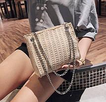 Стильная твидовая \ вязаная сумочка на цепочке, фото 2