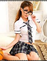 Сексуальный костюм школьницы, костюм школьница  для ролевых игр, ролевой костюм школьный, 133
