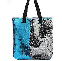 Эксклюзивная большая сумка холст с двусторонней пайеткой, фото 3