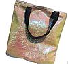 Эксклюзивная большая сумка холст с двусторонней пайеткой, фото 4