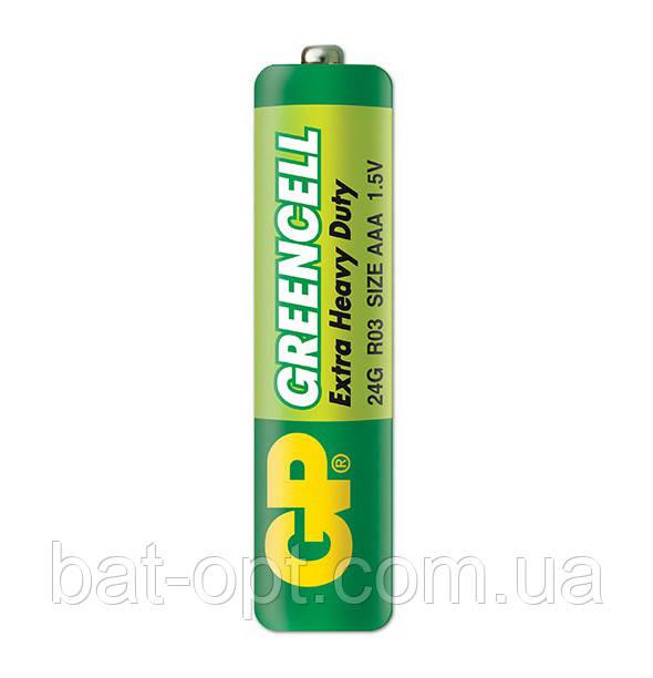 Батарейка солевая GP 24G-S2 Greencell R3 AAA минипальчиковая (трей)