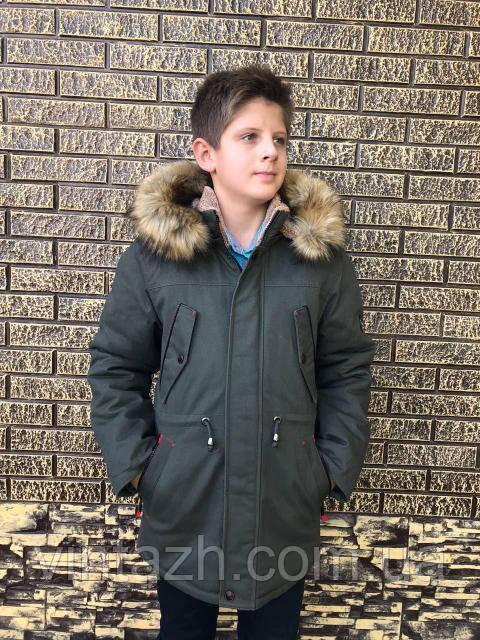Детская  парка зимняя на меху для мальчика