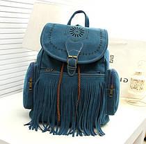 Большой замшевый рюкзак с бахромой, фото 3