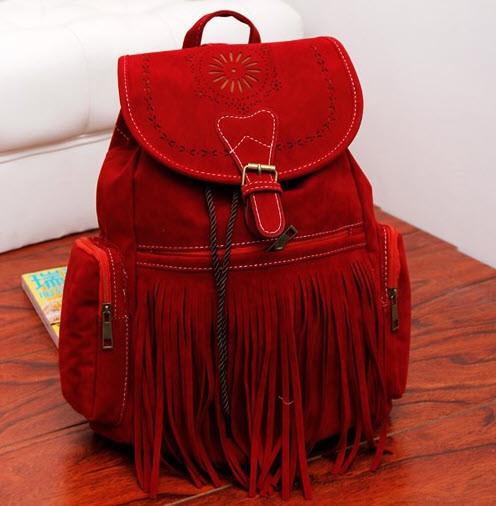 Большой замшевый рюкзак с бахромой